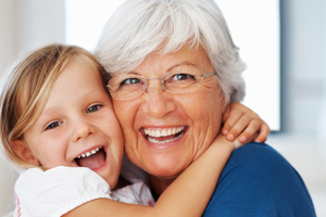 Young Girl and Elderly Woman Smiling